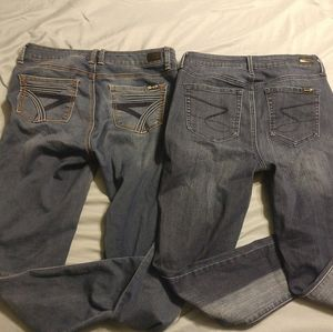 2 pairs of Women's Seven stretchy denim Jeans